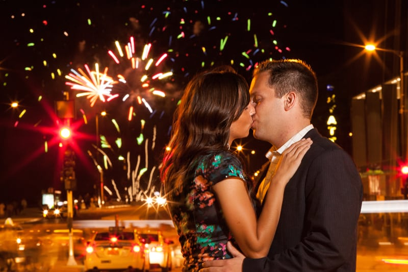 engagement picture in chicago with fireworks