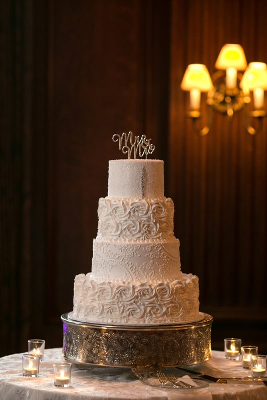 wedding cake at union club wedding reception