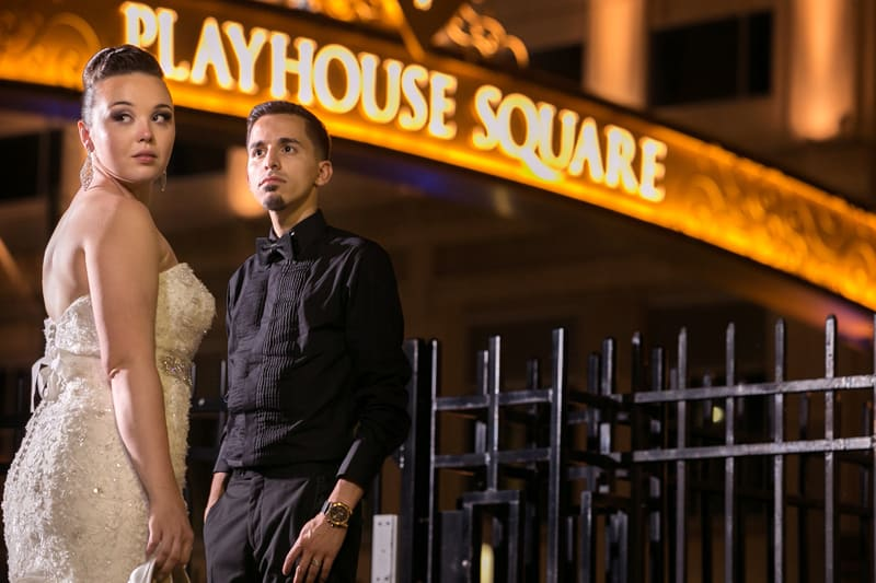 bride and groom at night in playhouse square