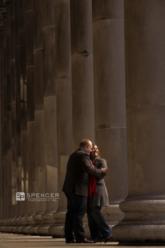 engagement picture outside art institute of chicago