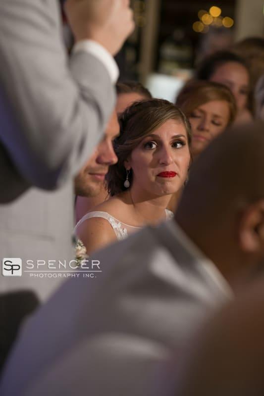 bride watching speech at vermilion on the lake wedding reception