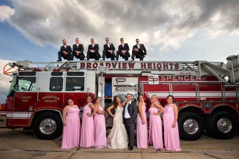bridal party picture by firetruck
