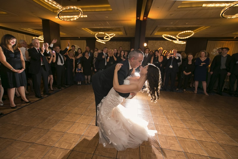 groom dips bride after dance at westin reception