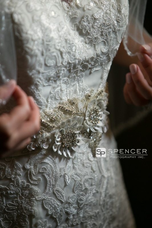 detail on front of wedding dress
