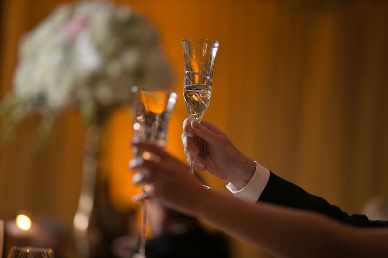 a toast at westin cleveland wedding reception