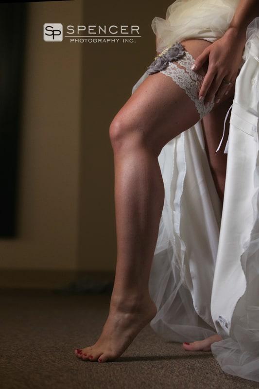 bride revealing her garter