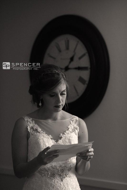 bride reading wedding day note