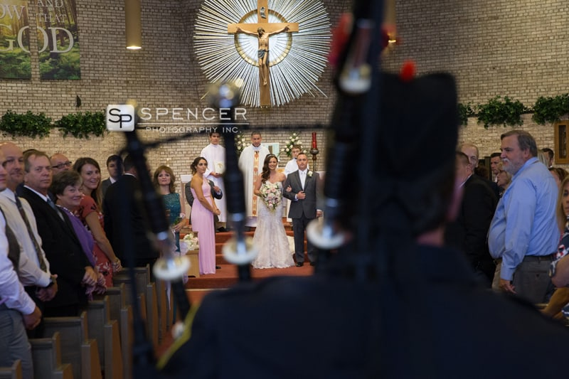 wedding processional with bagpipes