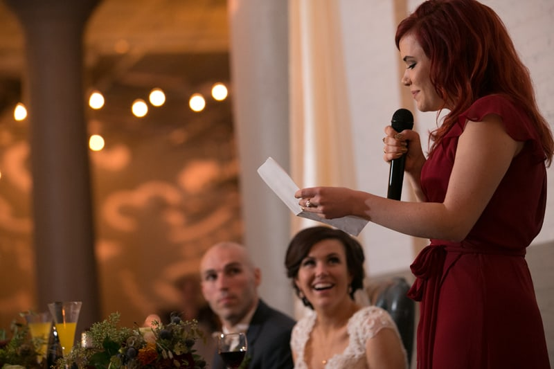 maid of honor giving speech a lake erie building
