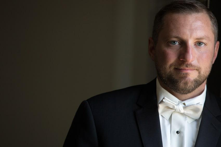groom portrait on wedding day at tudor arms