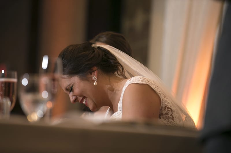 bride laughing at her wedding reception at tangier