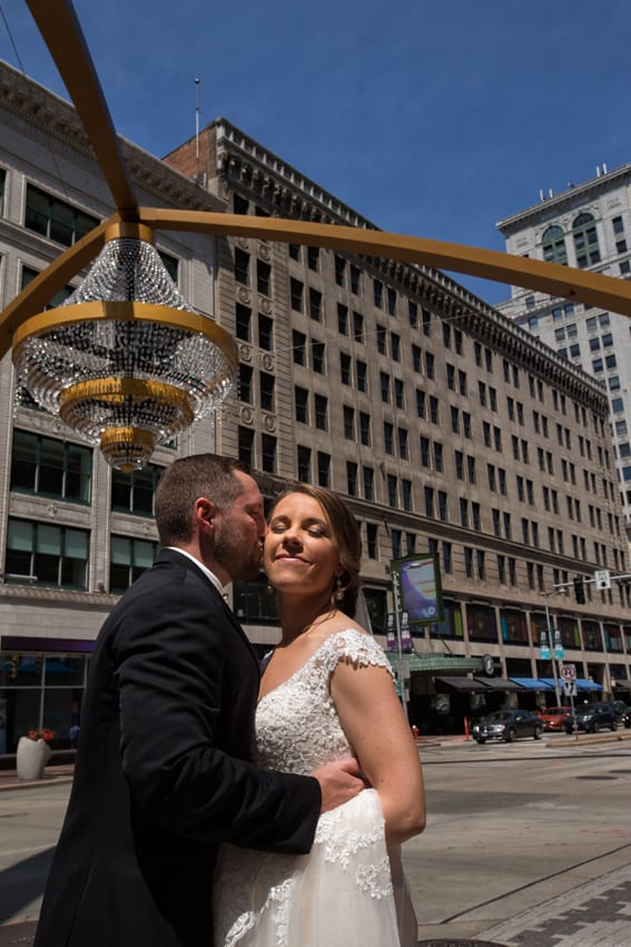 bride and groom in playhouse square