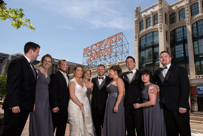 wedding party in playhouse square