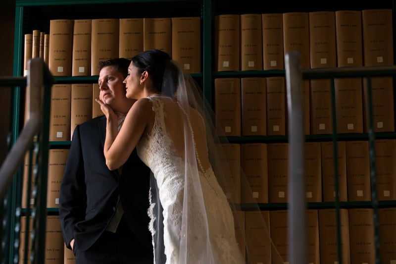 bride and groom in cleveland courthouse library