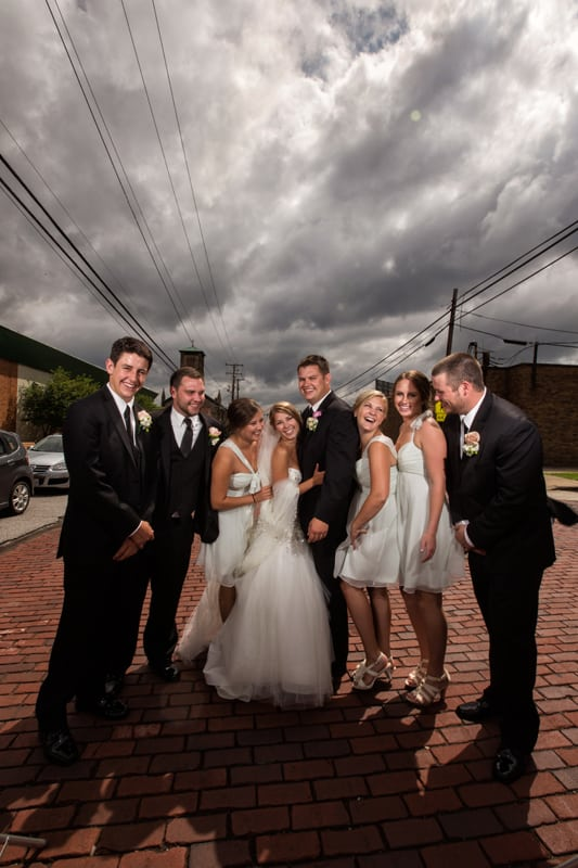 bridal party pictures on a cloudy day