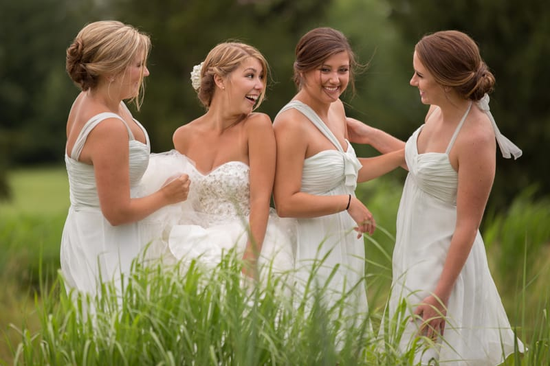 bridesmaids outside at firestone country club