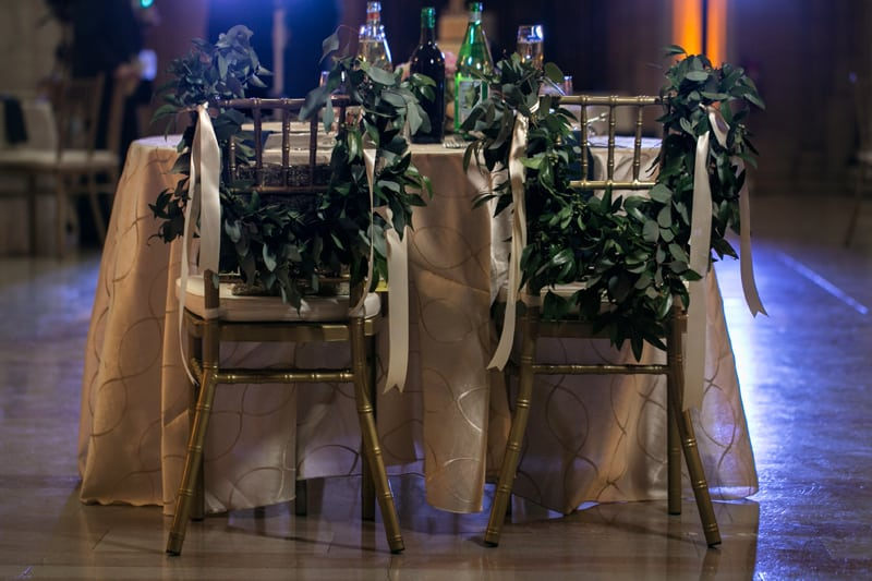bride and grooms chairs at old courthouse