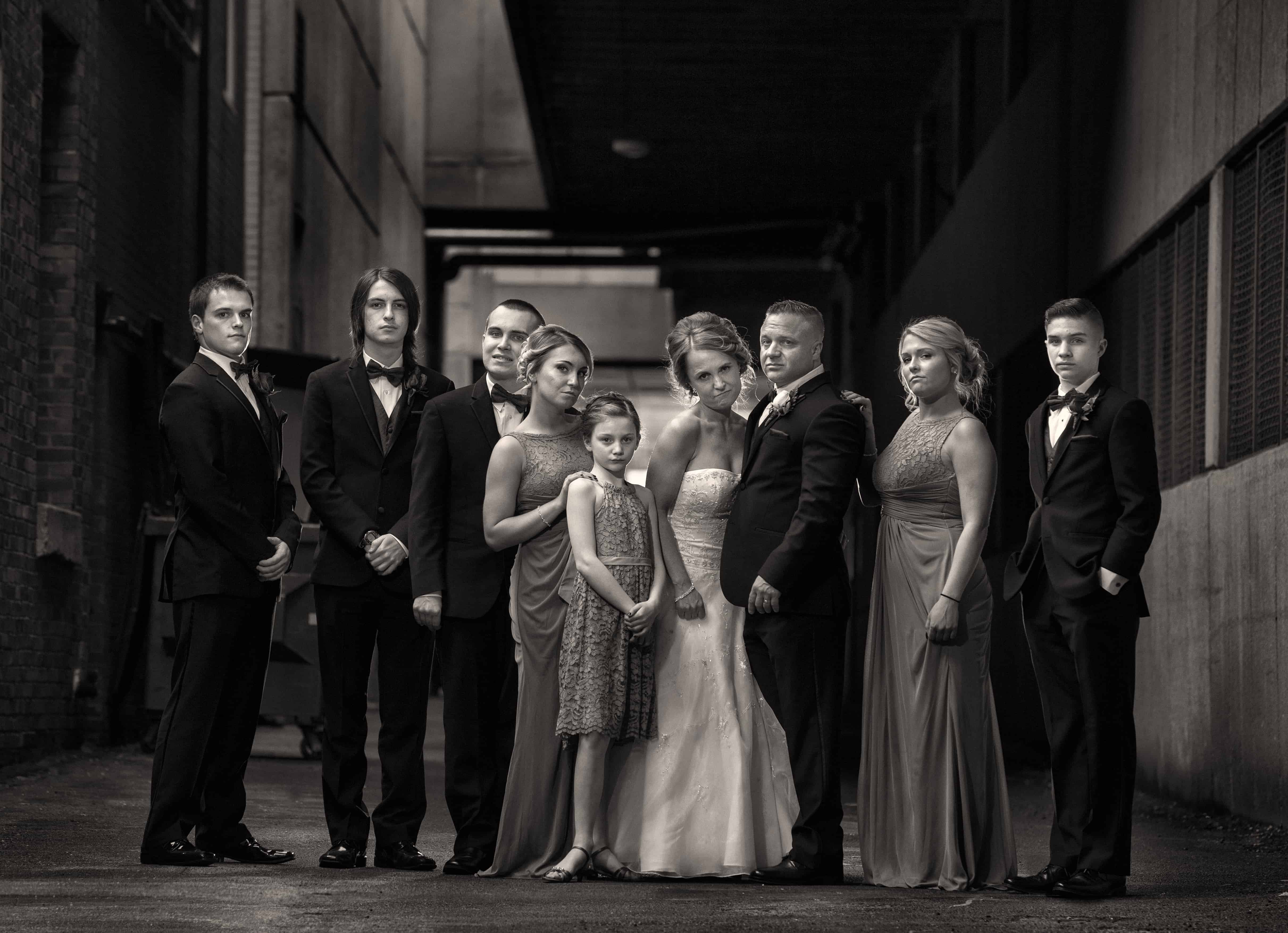 bridal party picture in alley