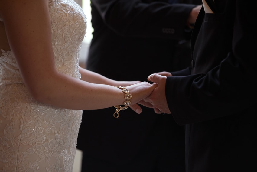bride and grooms hands