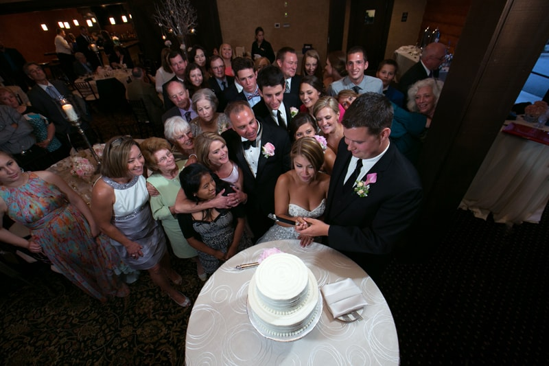 cake cutting at firestone country club reception