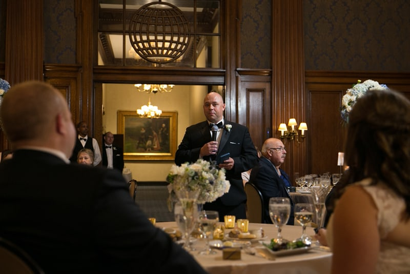 best man giving his speech at wedding reception at union club of cleveland