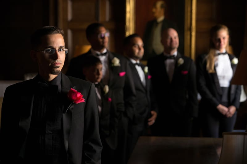 groomsmen in union club library