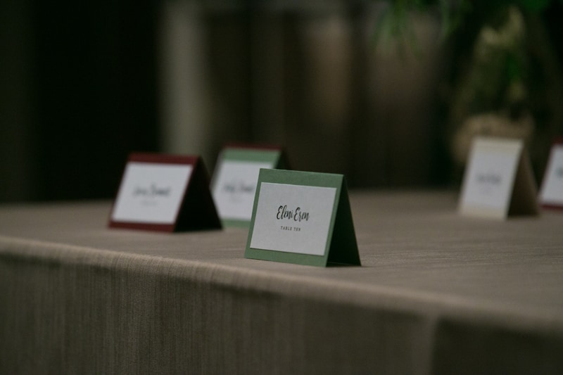 table cards at wedding reception at greystone hall