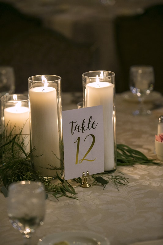 table centerpiece at greystone hall wedding reception