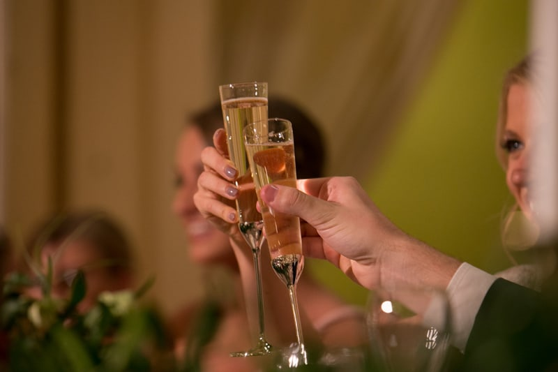 wedding day toast at greystone hall in akron