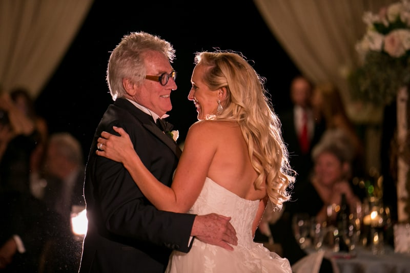 dad dances with bride at wedding reception in copley