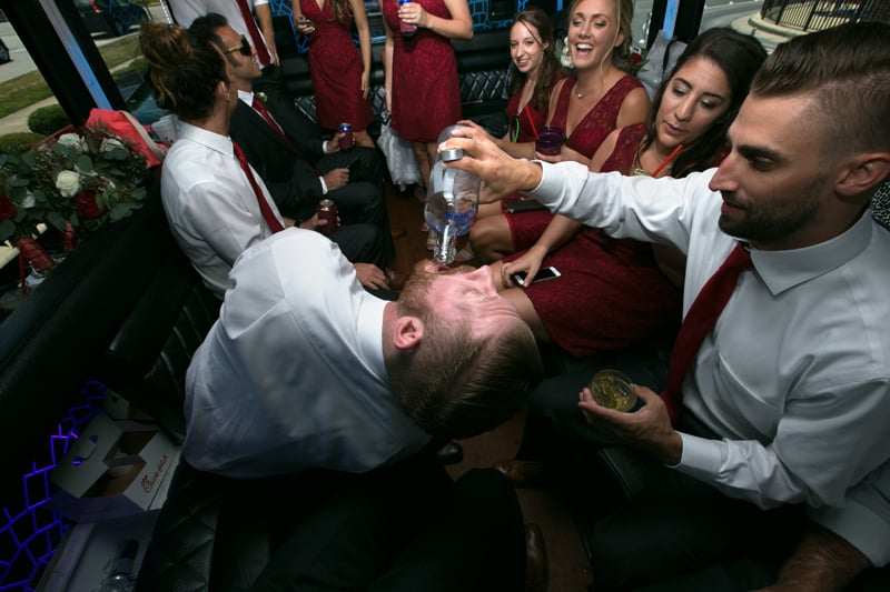 groomsmen drinking liquor