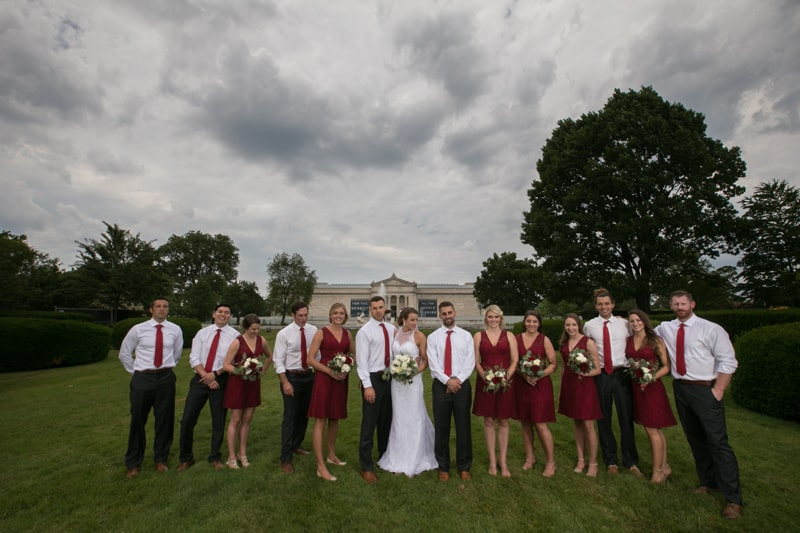wedding party picture at wade oval
