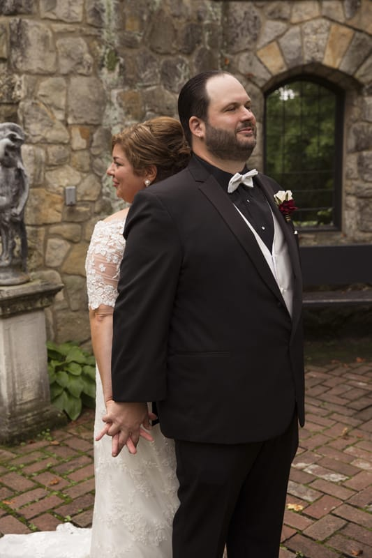 bride and groom on wedding day at stan hywet