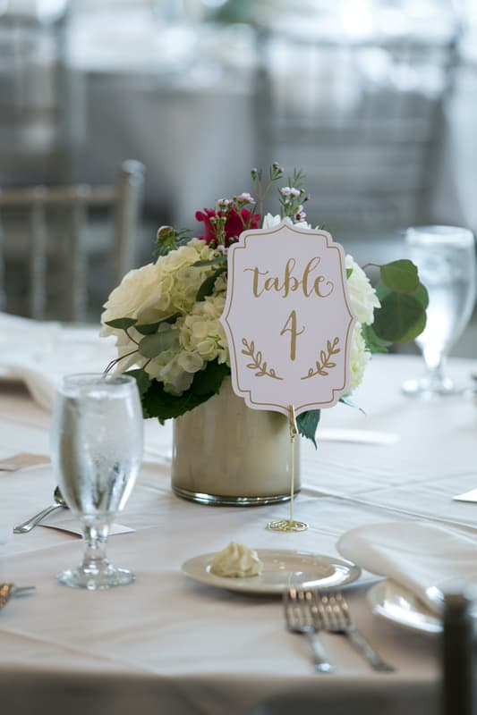 centerpiece at wedding reception at acacia