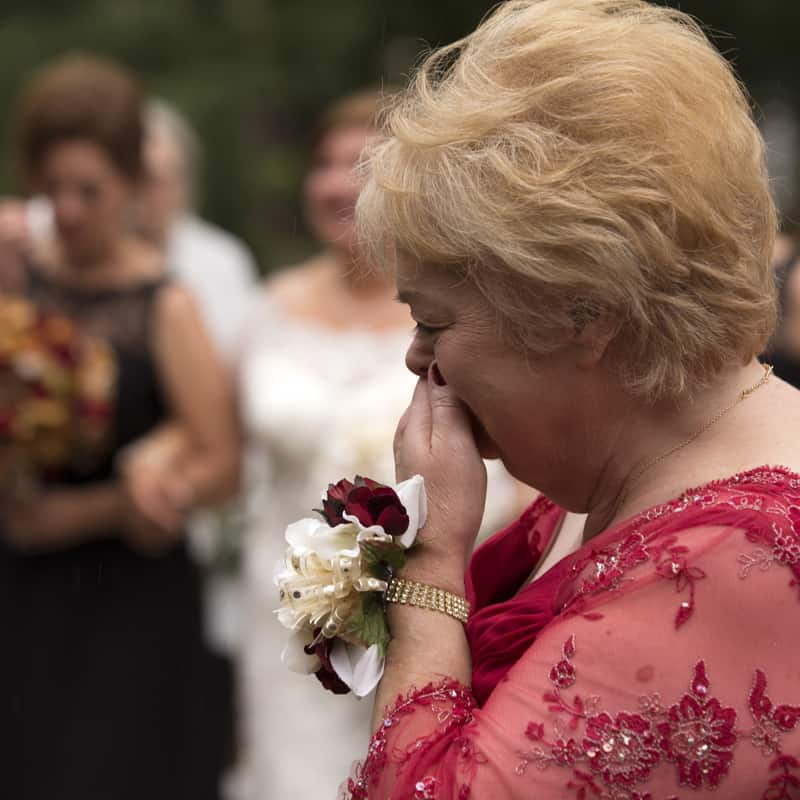 mother of bride getting emotional a stan hywet wedding