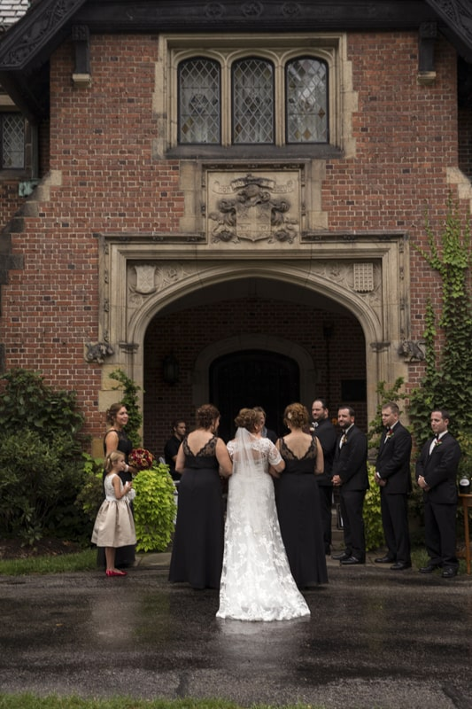 wedding on south terrace of stan hywet