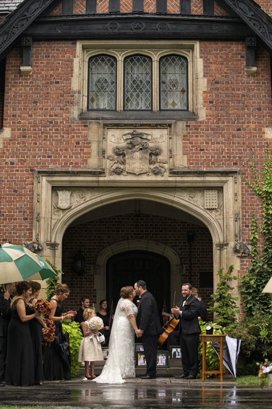 first kiss at wedding ceremony at stan hywet