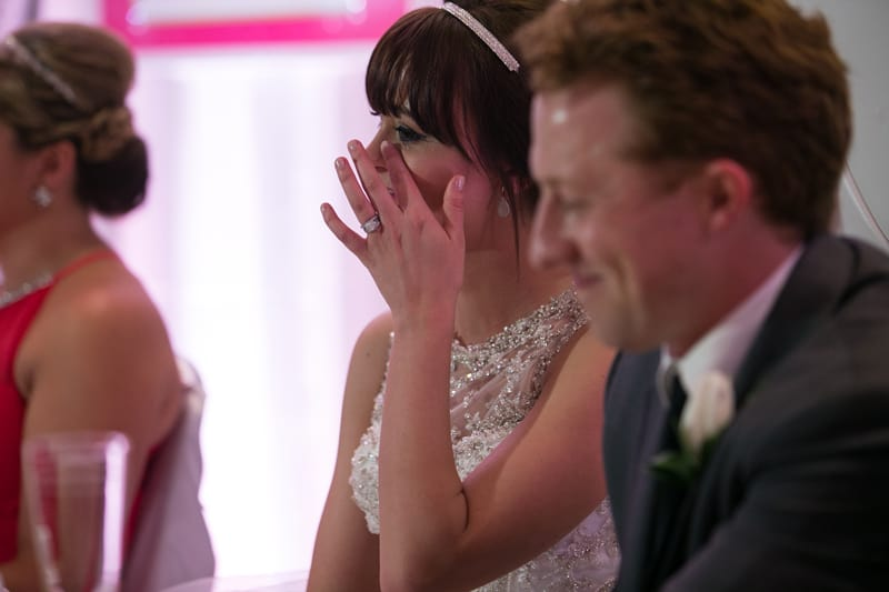 bride reacting to dads speech