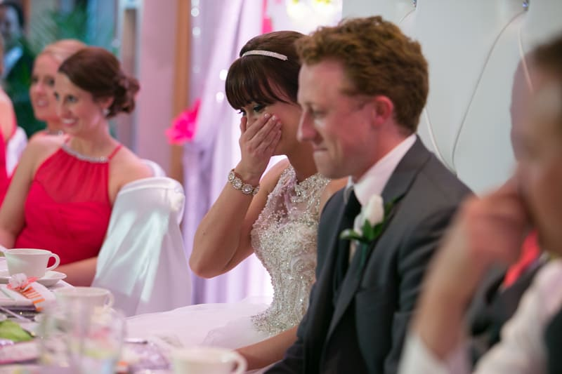bride is emotional over maid of honor speech