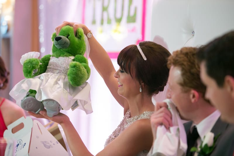 bride received gift of teddy bear