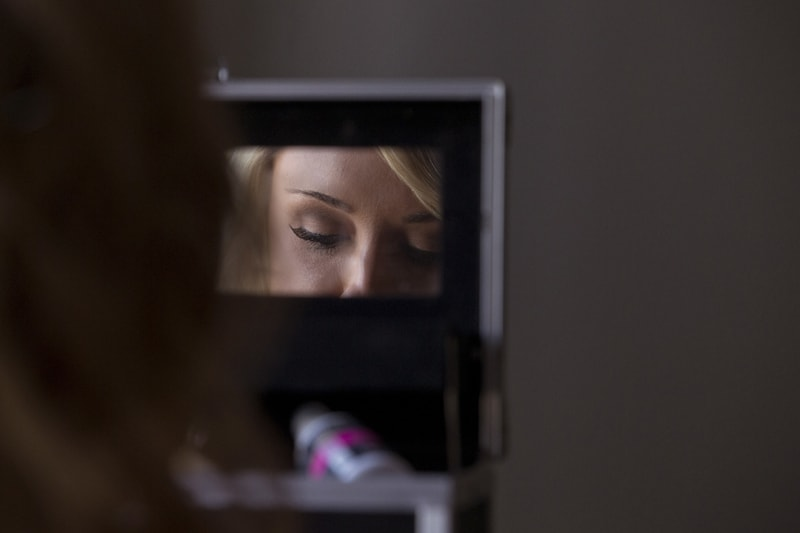 brides reflection in mirror