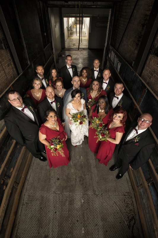 bridal party in elevator at lake erie building