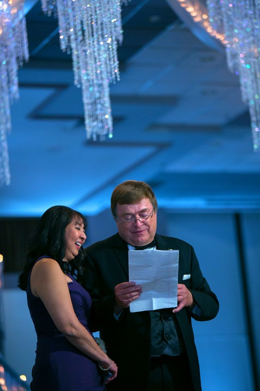 parents of the bride give speech at wedding reception at landerhaven