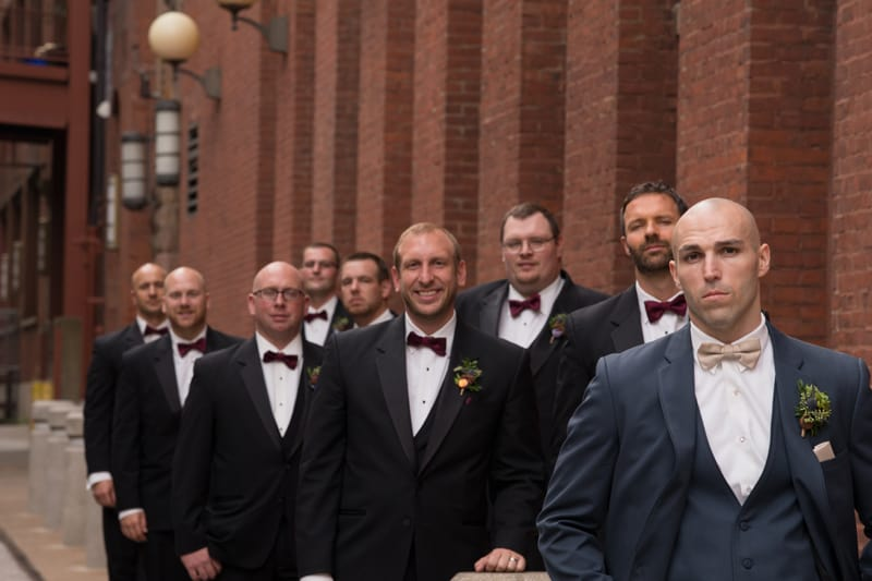 groomsmen picture in downtown cleveland