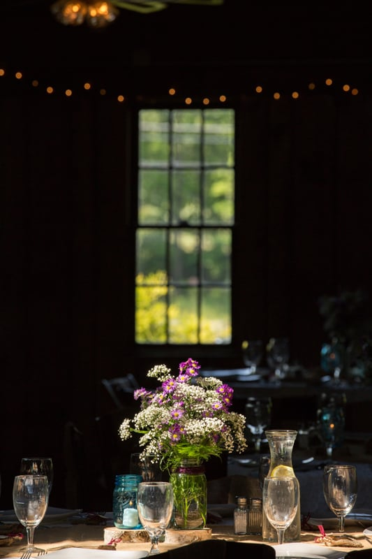 flowers at columbia ballroom wedding reception