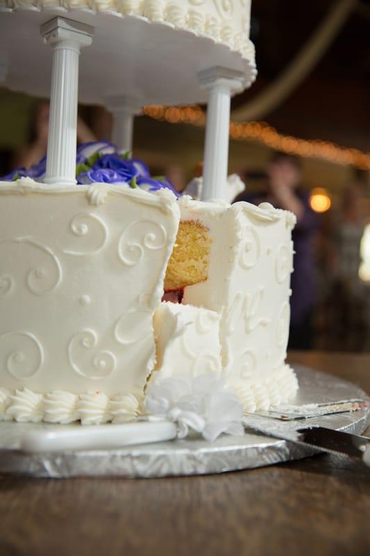 close up of cut wedding cake