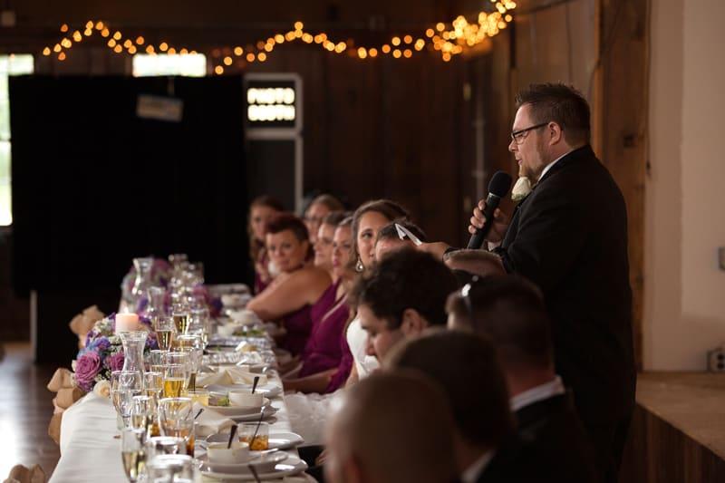 groomsman giving reception speech