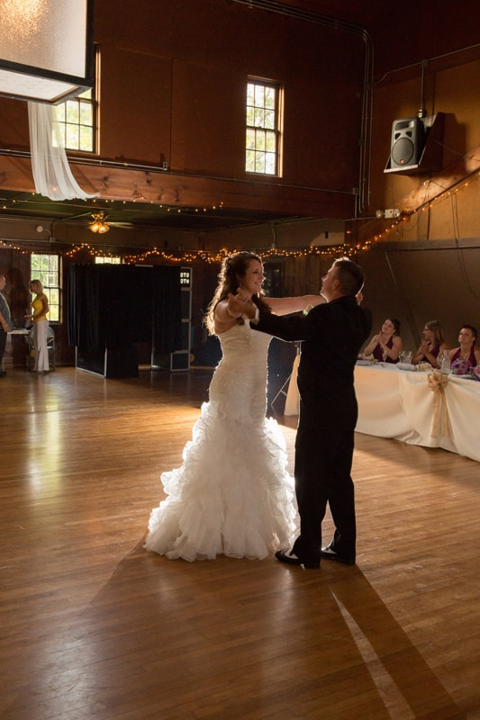 first dance at wedding reception at columbia ballroom