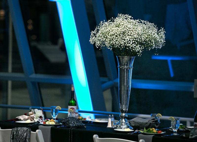 akron art museum wedding reception centerpiece