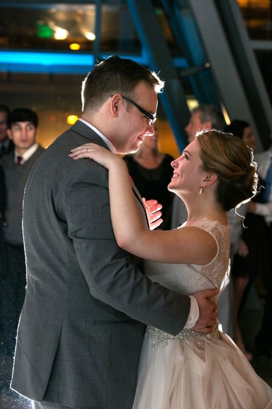 close up of first dance at akron art museum wedding reception